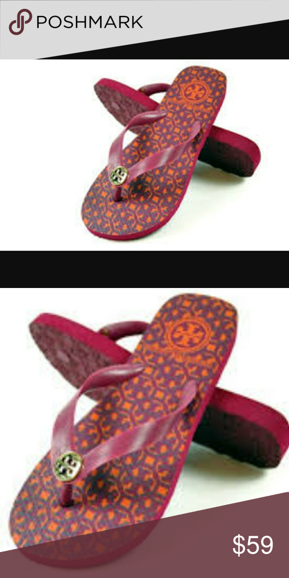 368f5e0ed1ef Logo Tory Burch flip flop sandals size 8 Logo Lattice Combo Rubber Flip Flop  Black Sandals Pink and Orange Size 8 New with Bag Tory Burch Shoes Sandals