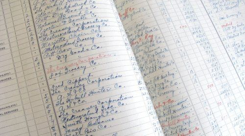 1918 ledger pkt of 6 pages handwriting accounting bookkeeping petitpoulailler antiques
