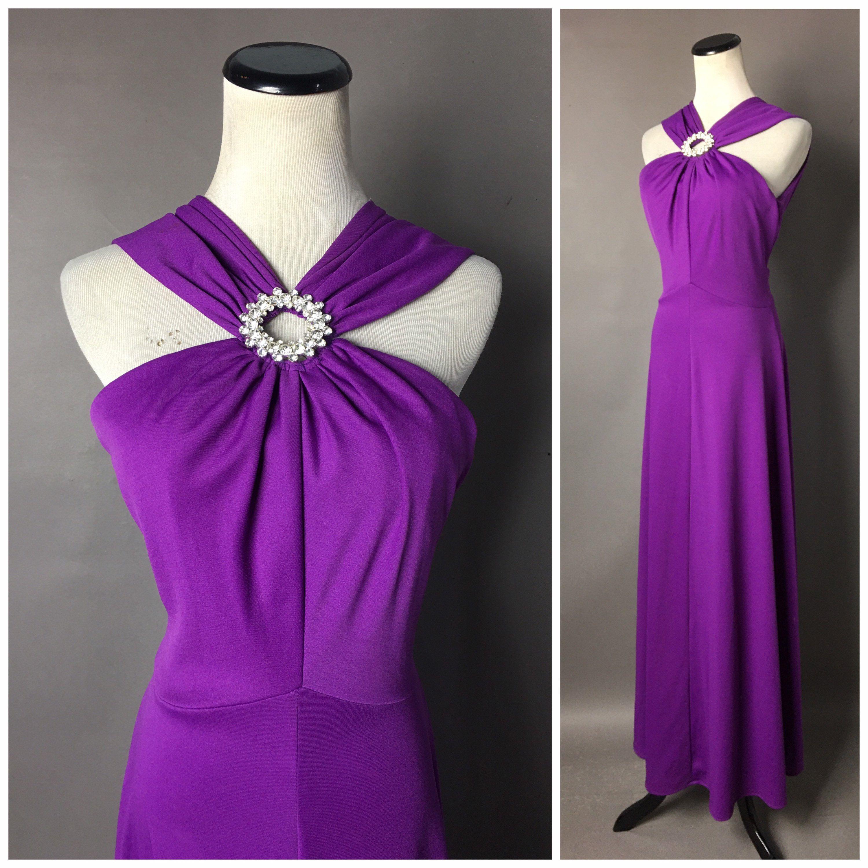 Vintage 70s Dress 1970s Dress Purple Dress Maxi Dress Etsy Purple Cocktail Dress Vintage Dress 70s Prom Dresses Sleeveless [ 3000 x 3000 Pixel ]