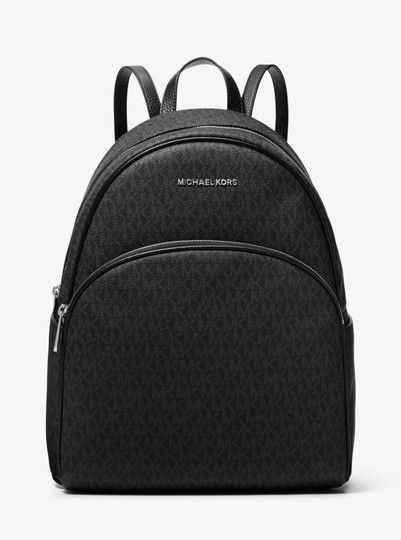 8895abca09a1 Get one of the hottest styles of the season! The Michael Kors Abbey Large  Signature Mk Black Leather Backpack is a top 10 member favorite on Tradesy.