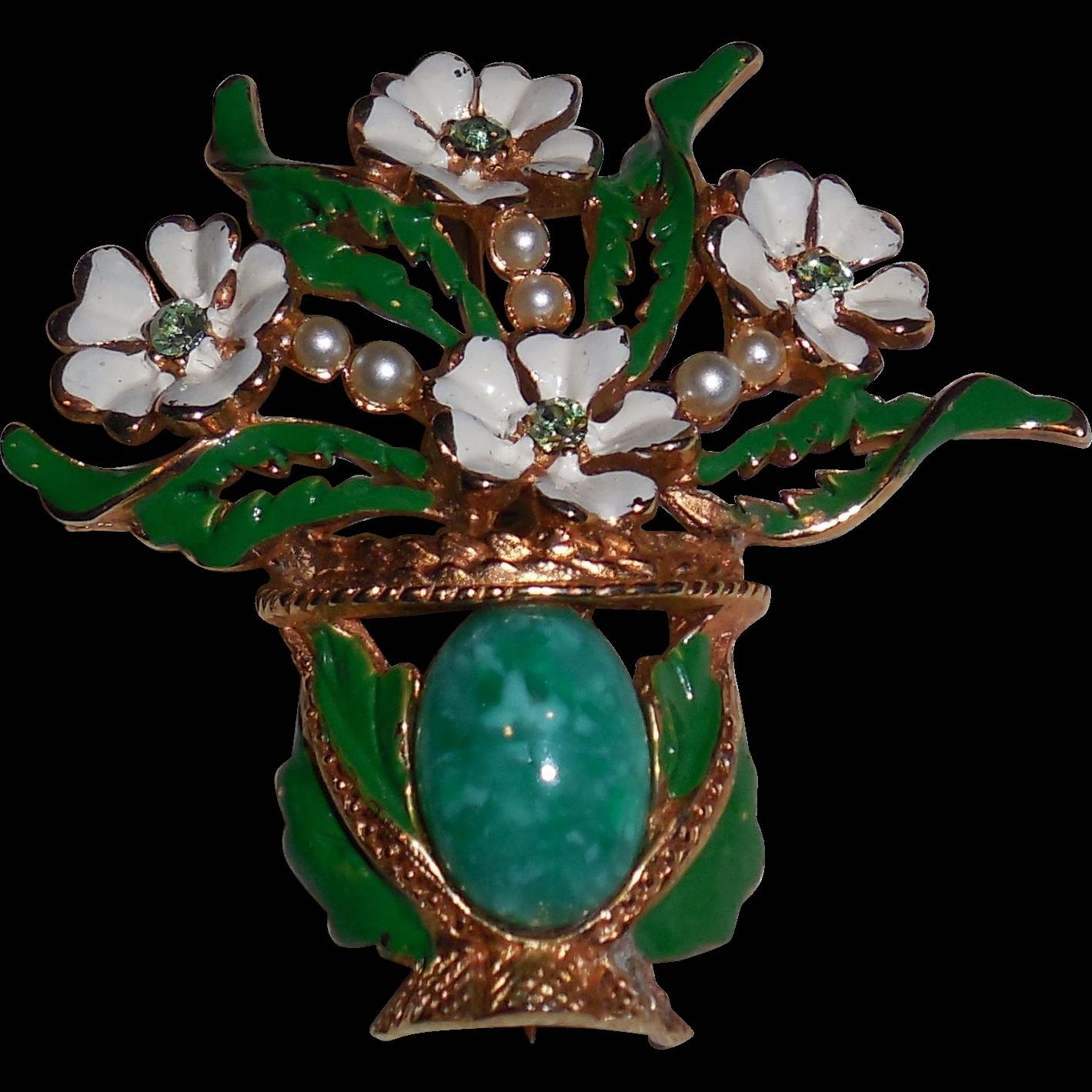 KRAMER Flower Vase Pot Glass Faux Pearl Enamel Brooch Pin from Not Just MUSI Bows on Ruby Lane #RubyLane