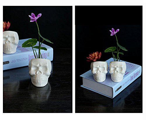 Wish you have a nice day Set of 2 Modern skull White Cera...