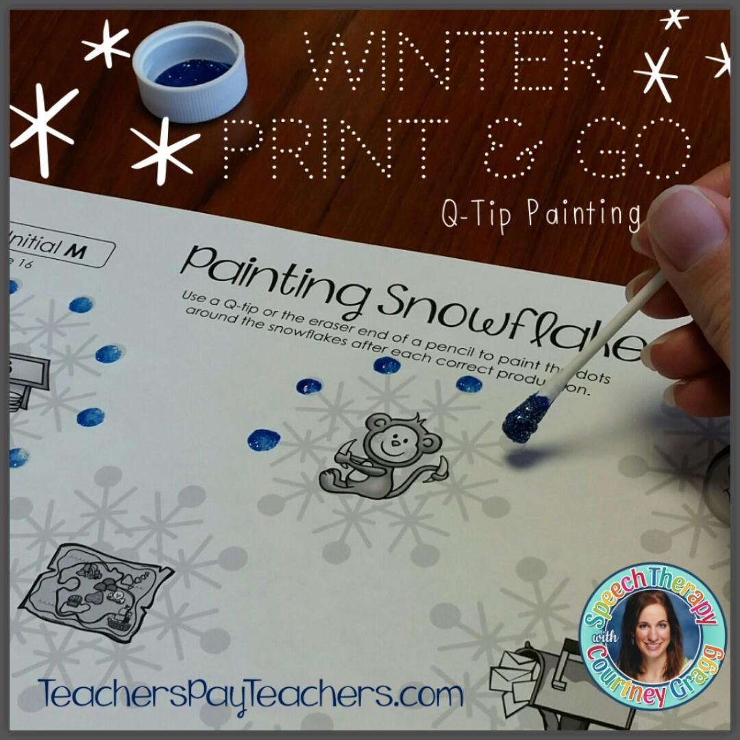 Winter painting pages - Speech Therapy Winter Print And Go Packet Including 51 Q Tip Painting Pages Targeting 23 Different Phonemes Students Use Q Tips Or The Eraser End Of A