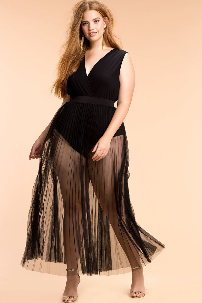 622c5d65bcd Plus Size Sheer Maxi Skirt