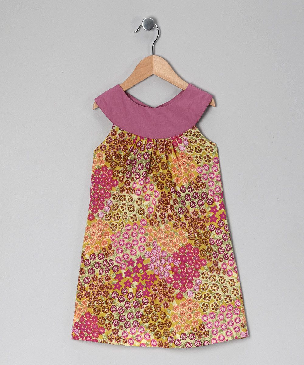Take a look at this green u lilac floral yoke dress toddler
