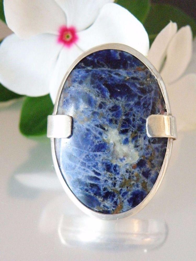 Vintage Huge Natural Blue Sodalite Sterling Silver 925 Statement Ring Handmade #Handmade #Cocktail #NaturalStoneJewelry #HealingStoneJewelry #BigSterlingJewelry