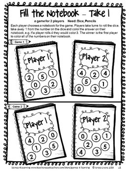 Back to School Math Games First Grade: Beginning of the