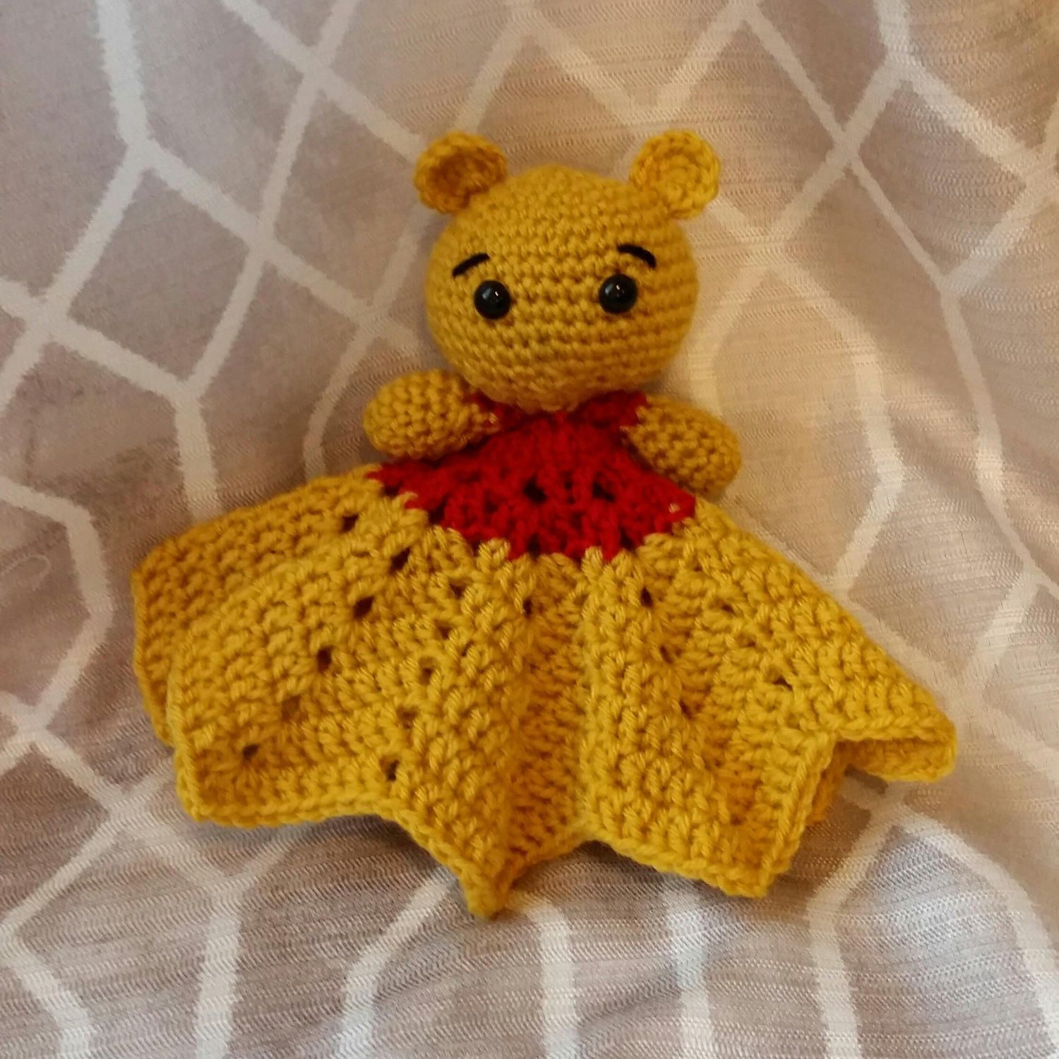 Crochet Winnie The Pooh Inspired Lovey by SnugAsABugHandCrafts on Etsy