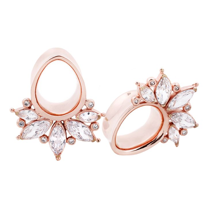 Limited edition rose gold plated teardrop eyelets with sparkling