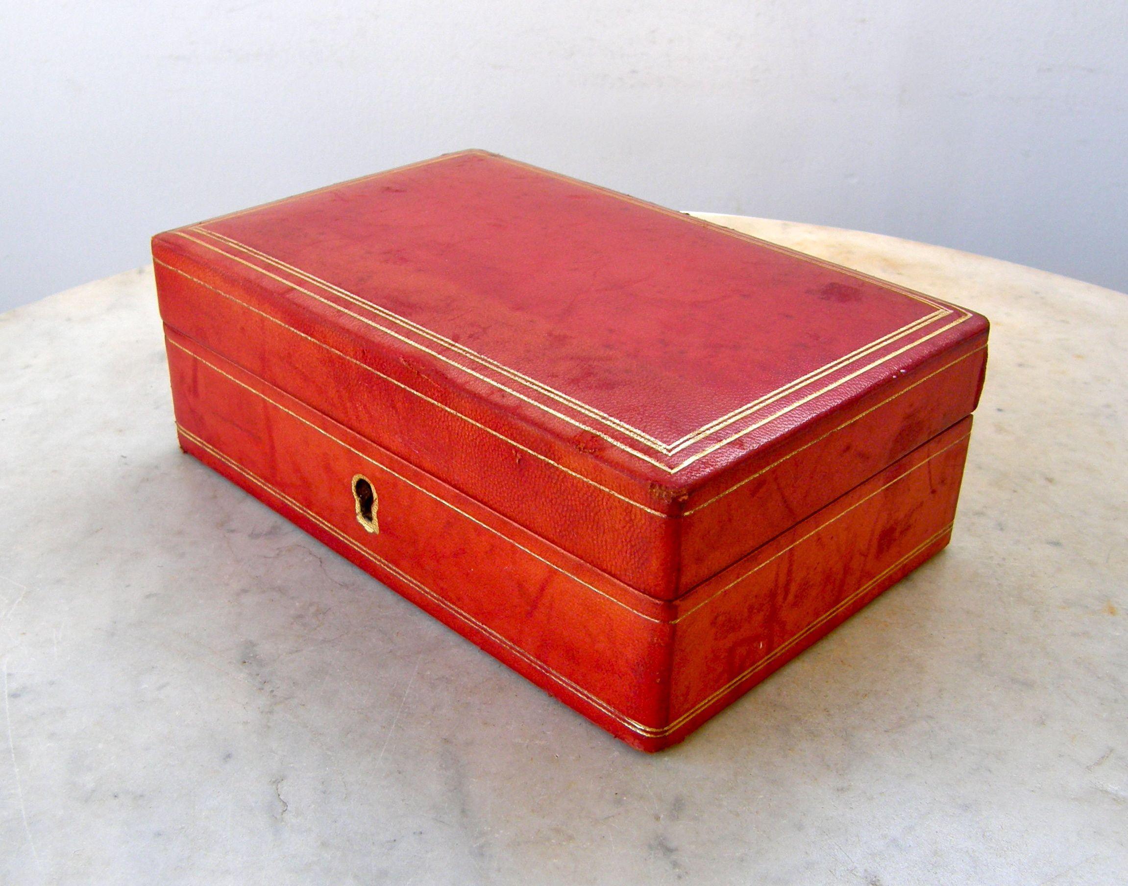 Leather Jewelry Box Trinket Case Red Gold Striped Border Red Velvet Interior Ring Holder Satin Bottom Brass H Leather Jewelry Box Velvet Interiors Gold Stripes