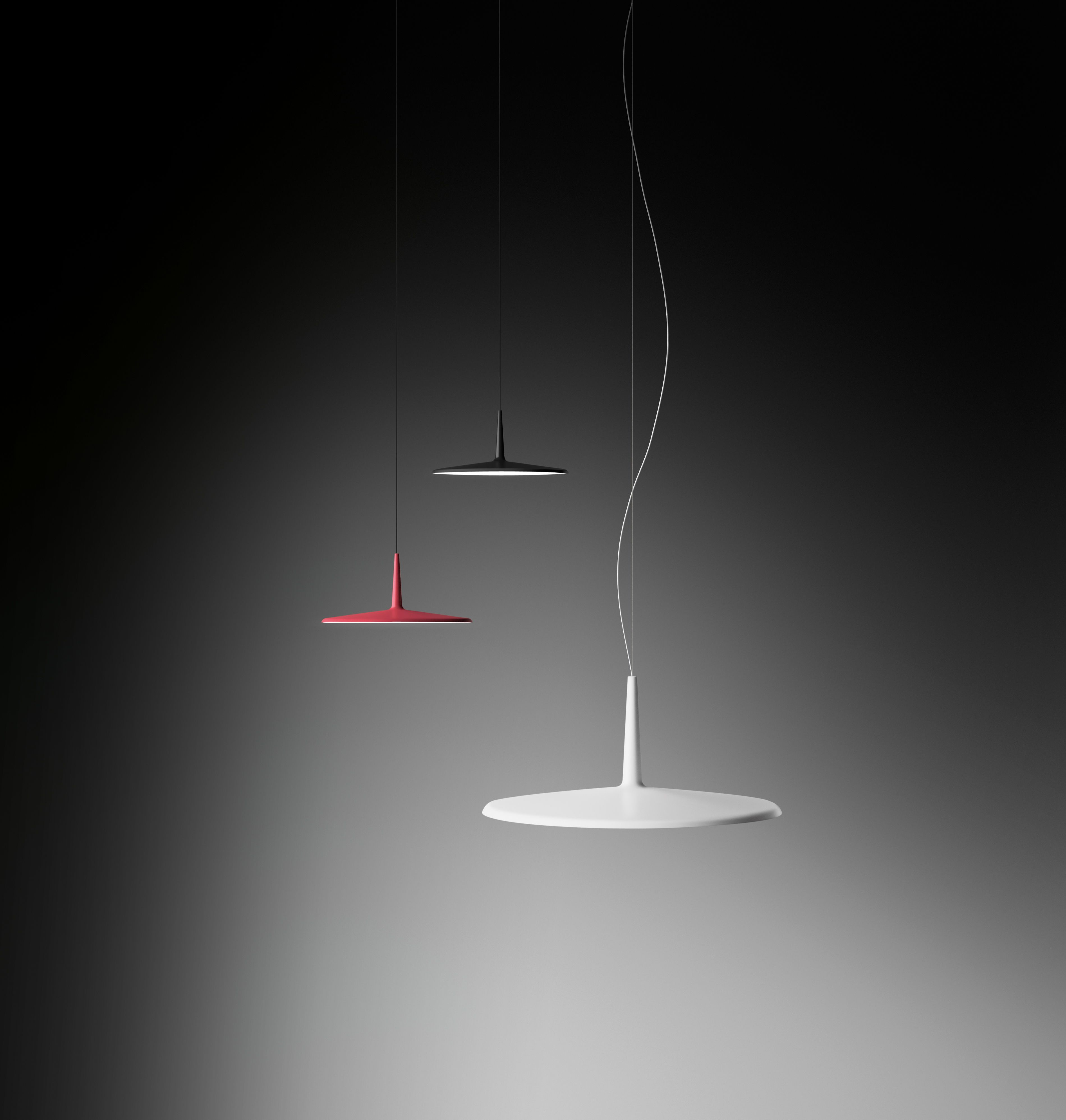 The hanging light fitting combines the elaborate simplicity of a classic design. A reinterpretation of the simple traditional lamp with a shade concept, but taking advantage of LED lighting to create a  luminary in its most simple iteration. http://www.vibia.com/en/lamps/show/id/02714/hanging_lamps_skan_0271_design_by_lievore_altherr_molina.html?utm_source=organic&utm_medium=twitter&utm_campaign=wireflow