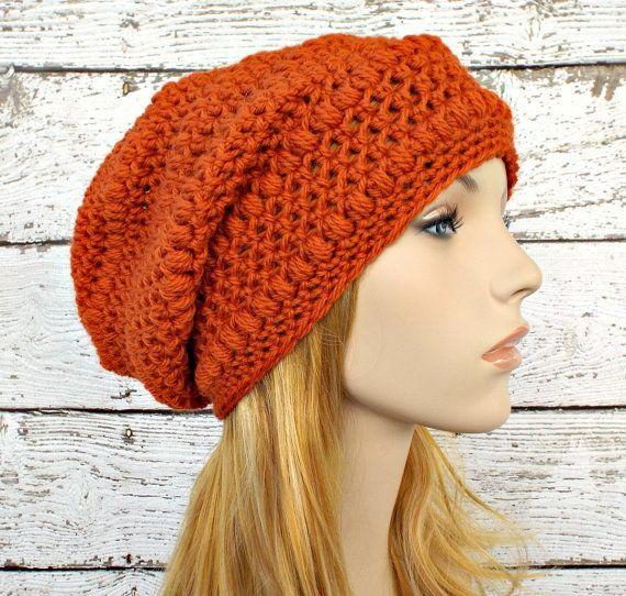 4657b45772d265 Orange Womens Hat - Penelope Puff Stitch Slouchy Beanie Pumpkin ...