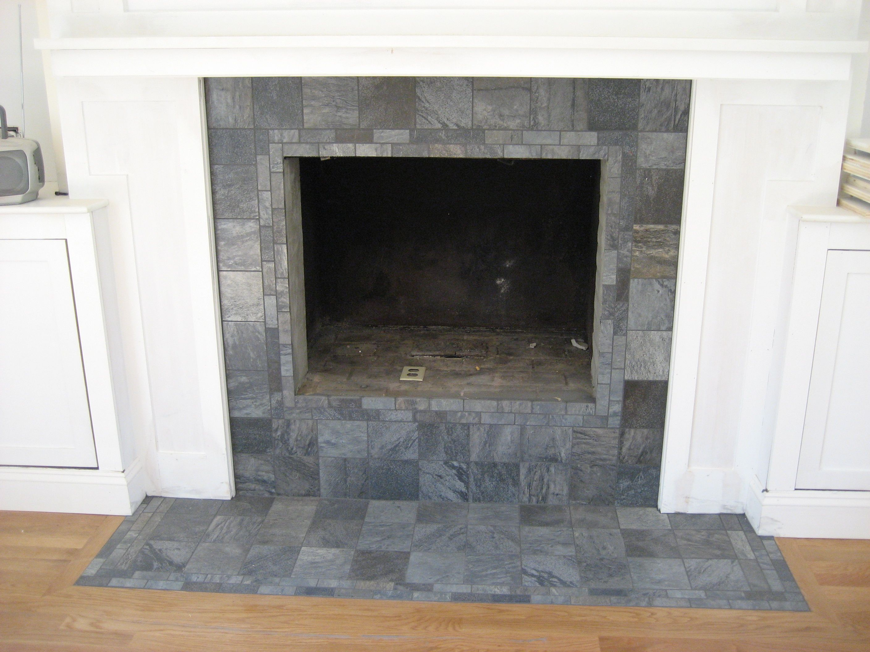 Size Of Tile For Front Hall Fireplace Hearth Floating Fireplace
