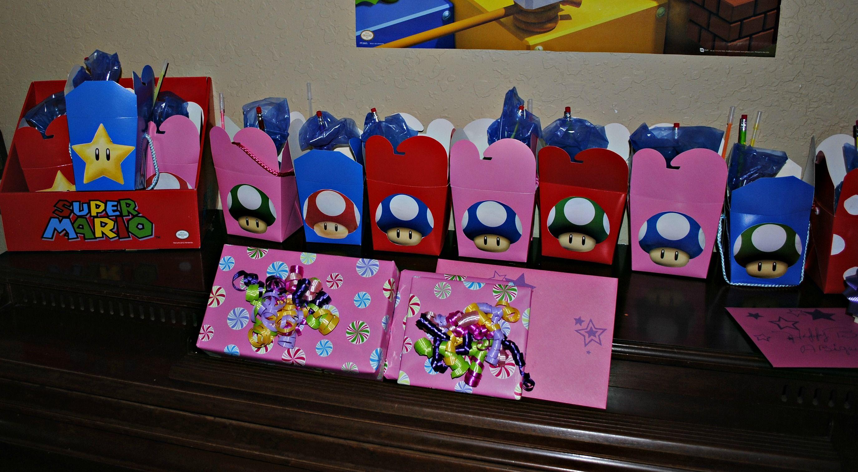 Party favor boxes super mario bros birthday party mario