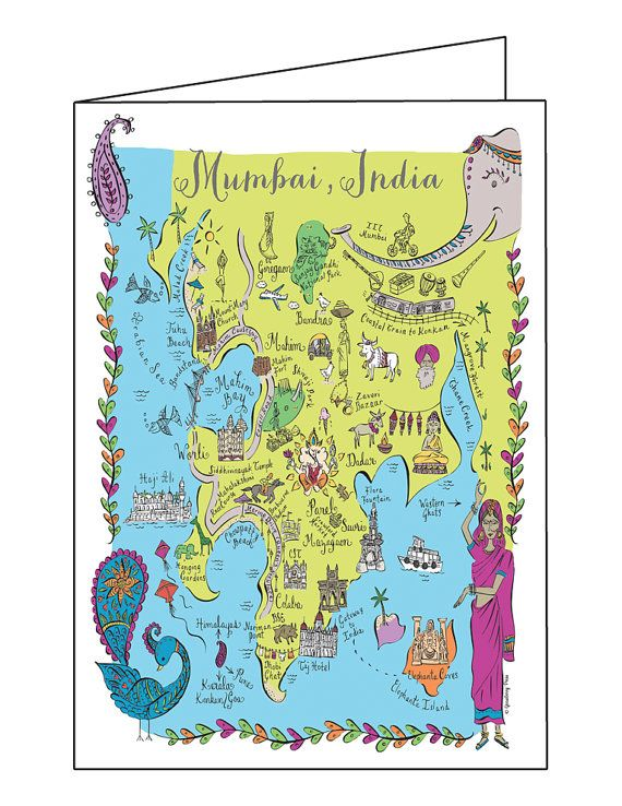Mumbai india map full color note card by gooseberrydesigns on etsy mumbai india map full color note card by gooseberrydesigns on etsy 300 gumiabroncs Image collections