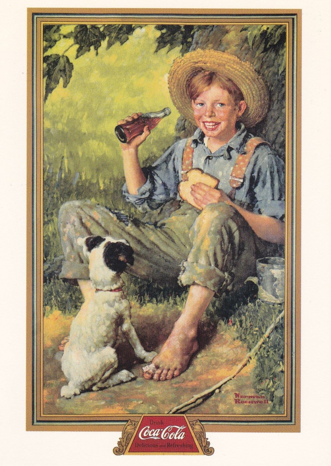 Norman Rockwell Coca Cola Barefoot Boy Postcards