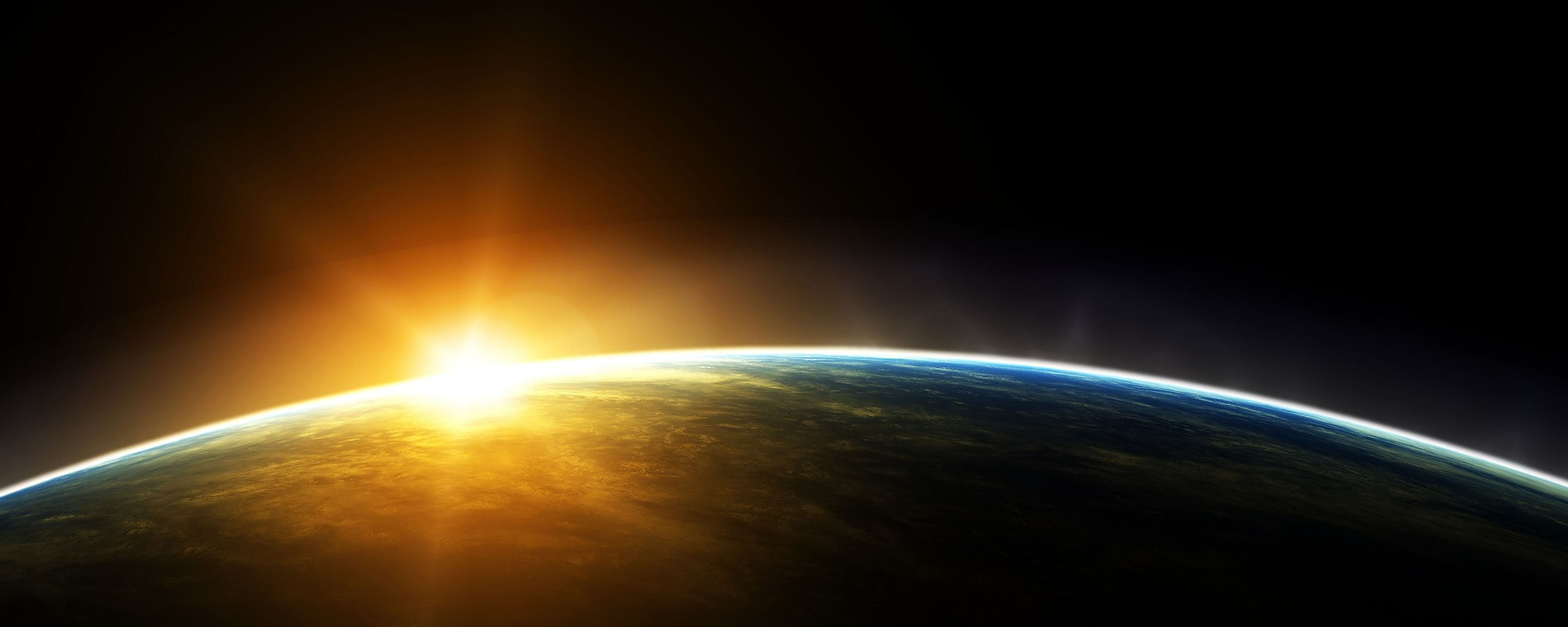 Sunrise From Space Amazing Dual Screen Wallpaper Dual Monitor Wallpaper Sunrise Wallpaper