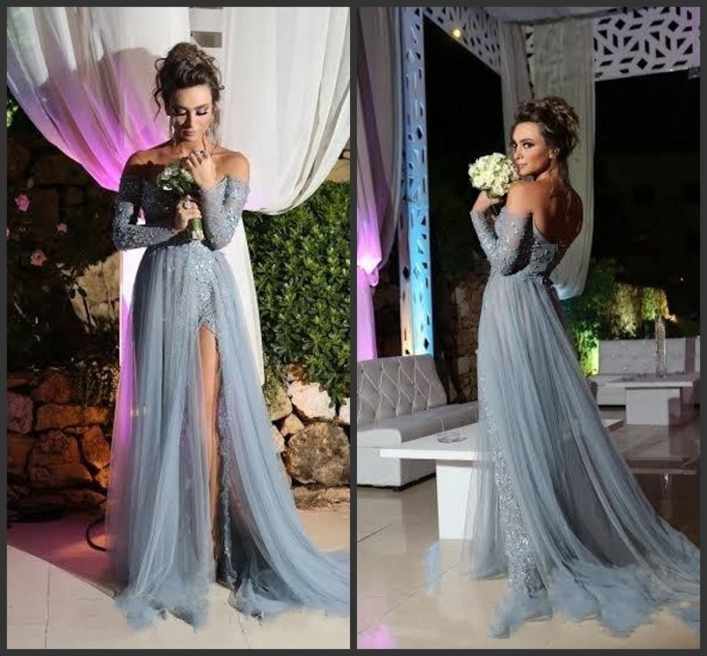 Grey prom dress a line long sleeve tulle party evening gowns elegant