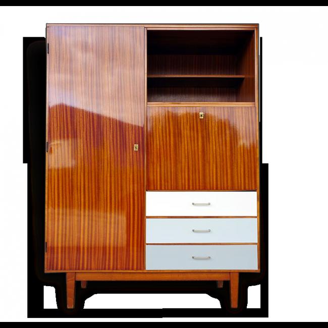 secr taire penderie vintage ann es 60 bois mat riau bon tat vintage 30996. Black Bedroom Furniture Sets. Home Design Ideas
