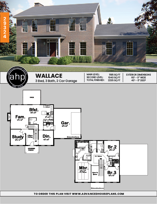 2 Story Colonial House Plan Wallace Colonial House Plans Colonial House House Plans