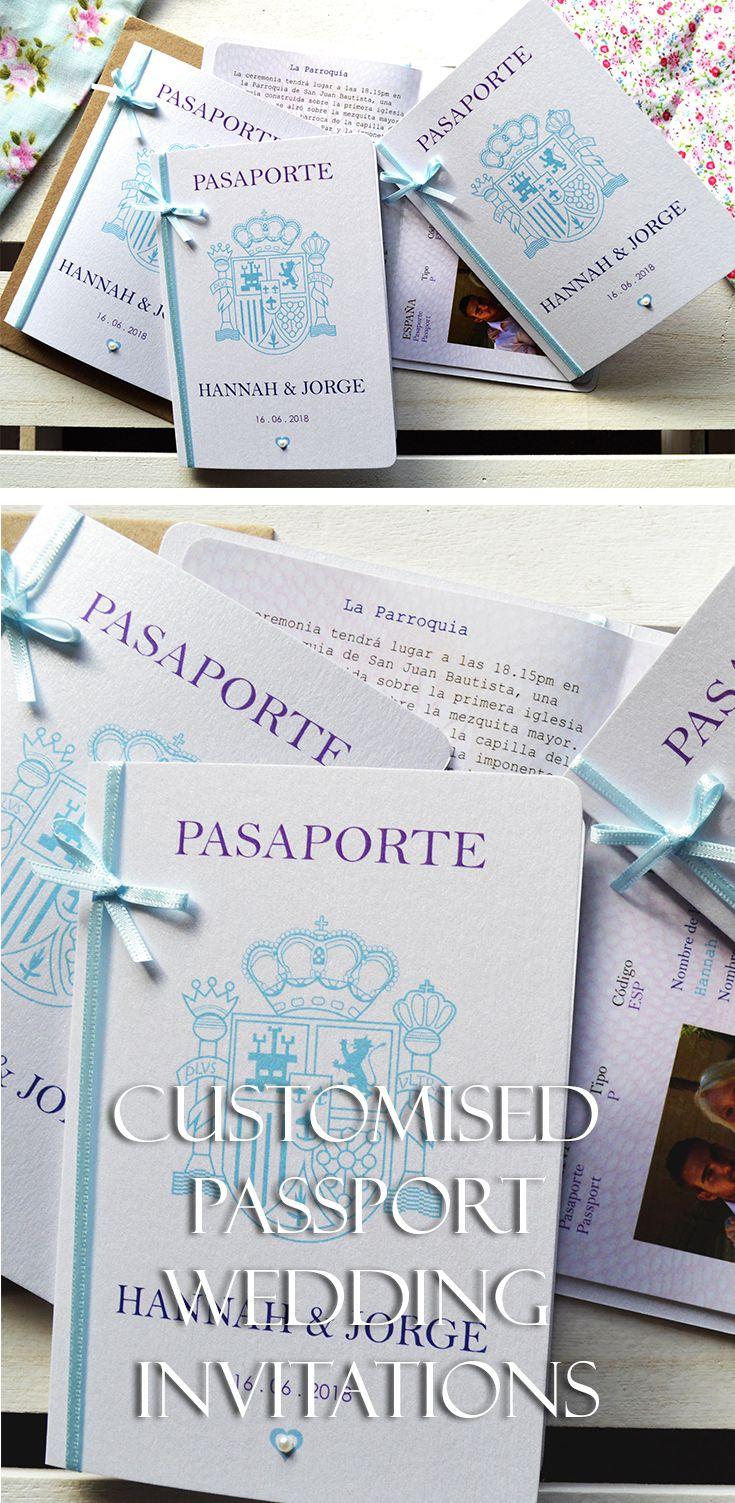 Bow - Passport Wedding Invitation with Boarding Pass RSVP- handmade ...