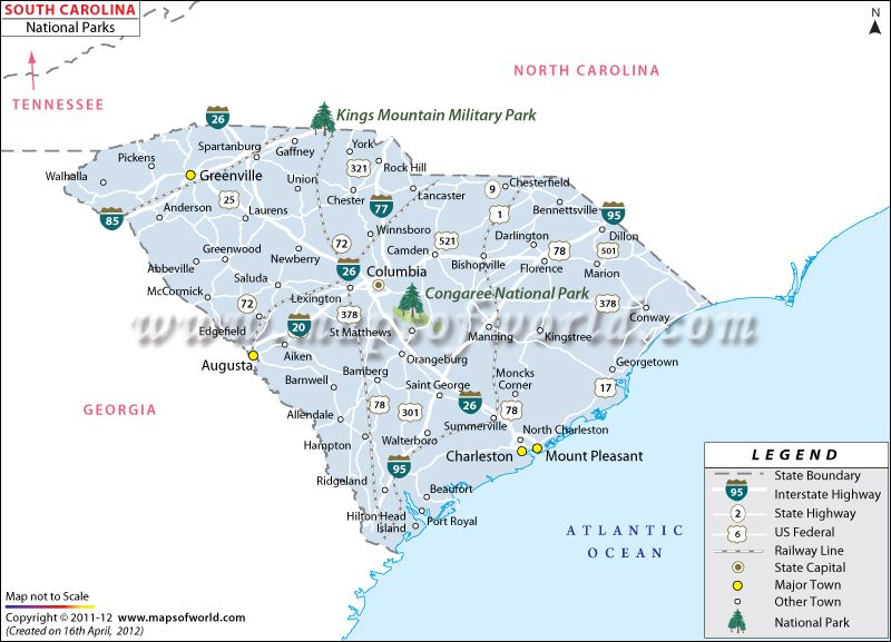 South Carolina National Parks Map Visited Congaree US National