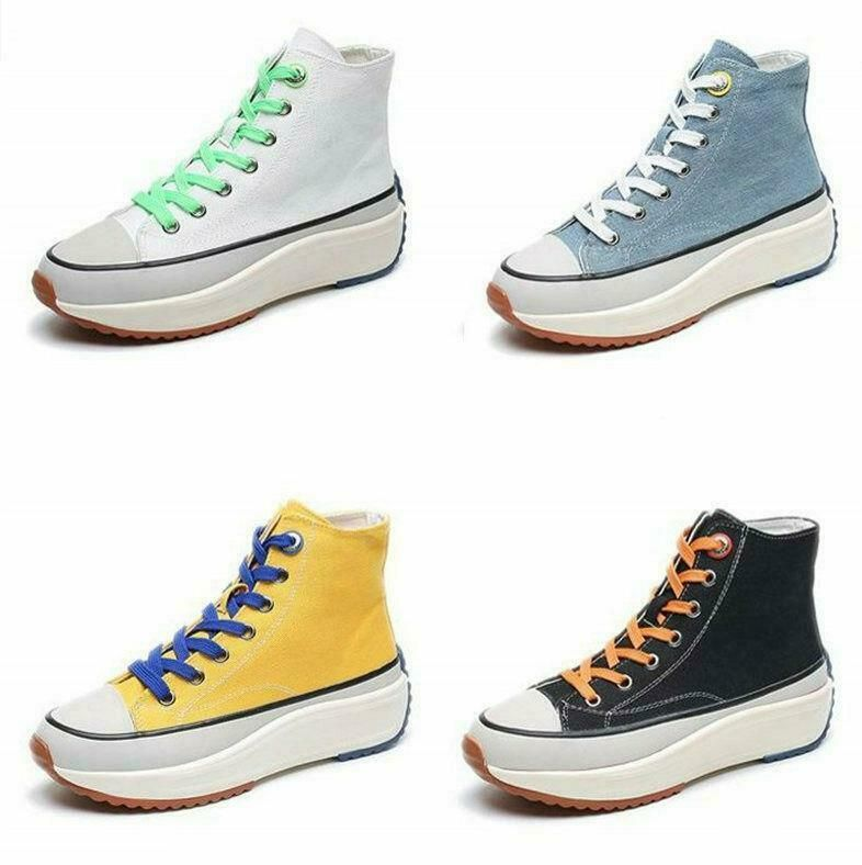 Womens Lace Up Flat Hi Top Trainers Shoes