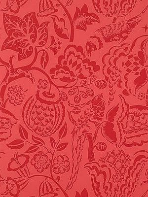 Carolina Herrera Inspired Wallpaper Schumacher Wallpaper-Ucello-Red Price Per Roll: $101.75