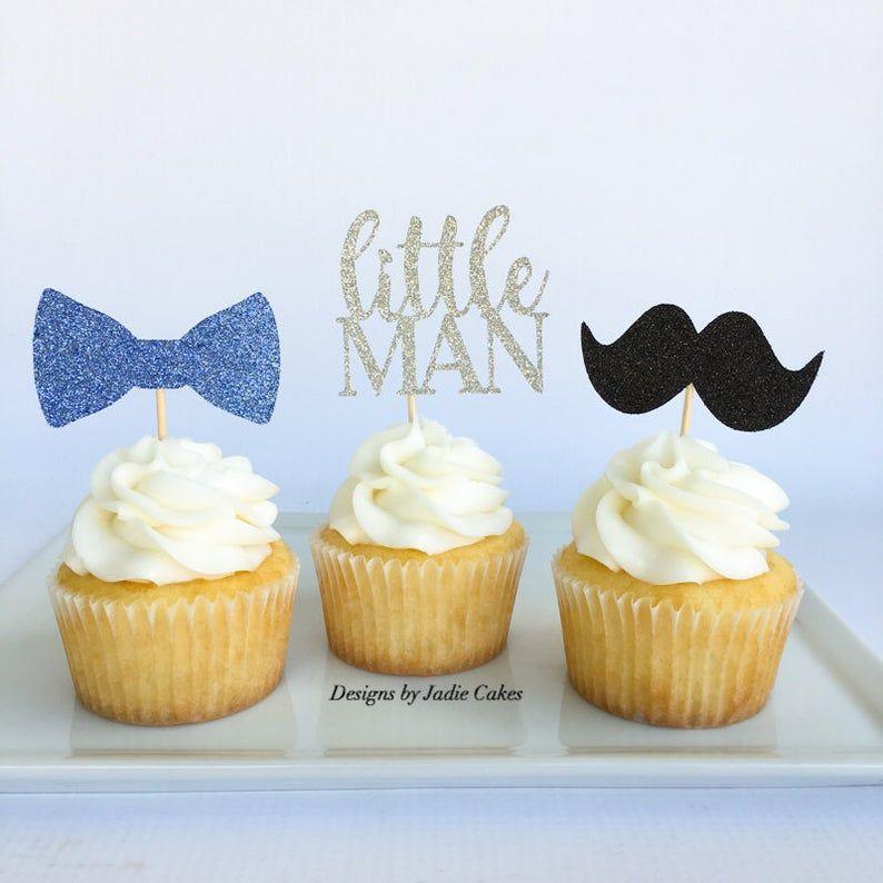 MustacheLittle ManLittle dude boys cupcake topper
