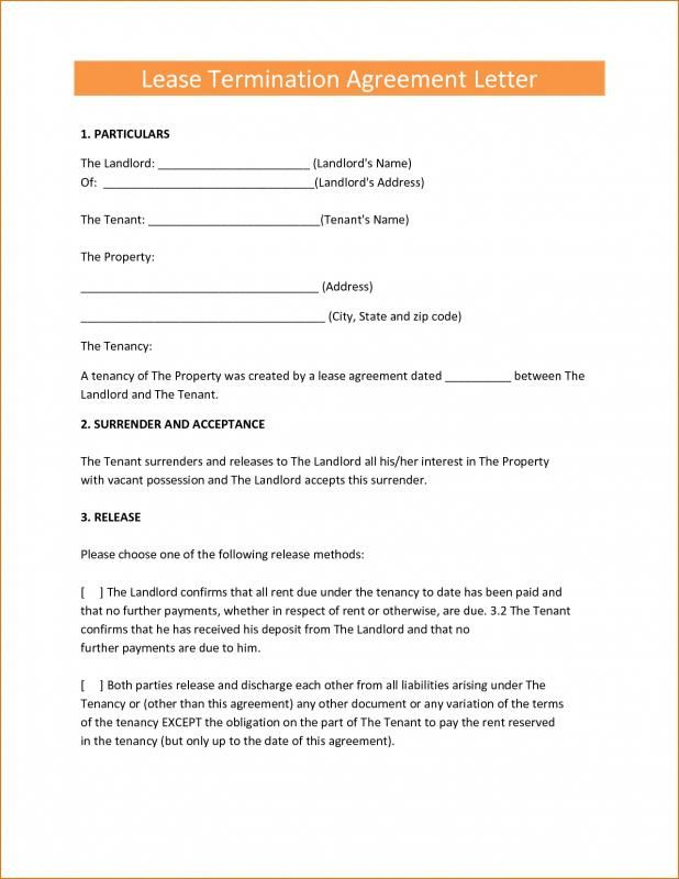 Lease Cancellation Letter template Pinterest