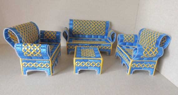 plastic dollhouse furniture sets. Blue And Yellow Plastic Canvas Doll House Furniture. Set Of 4 Living Room Furniture Dollhouse Sets
