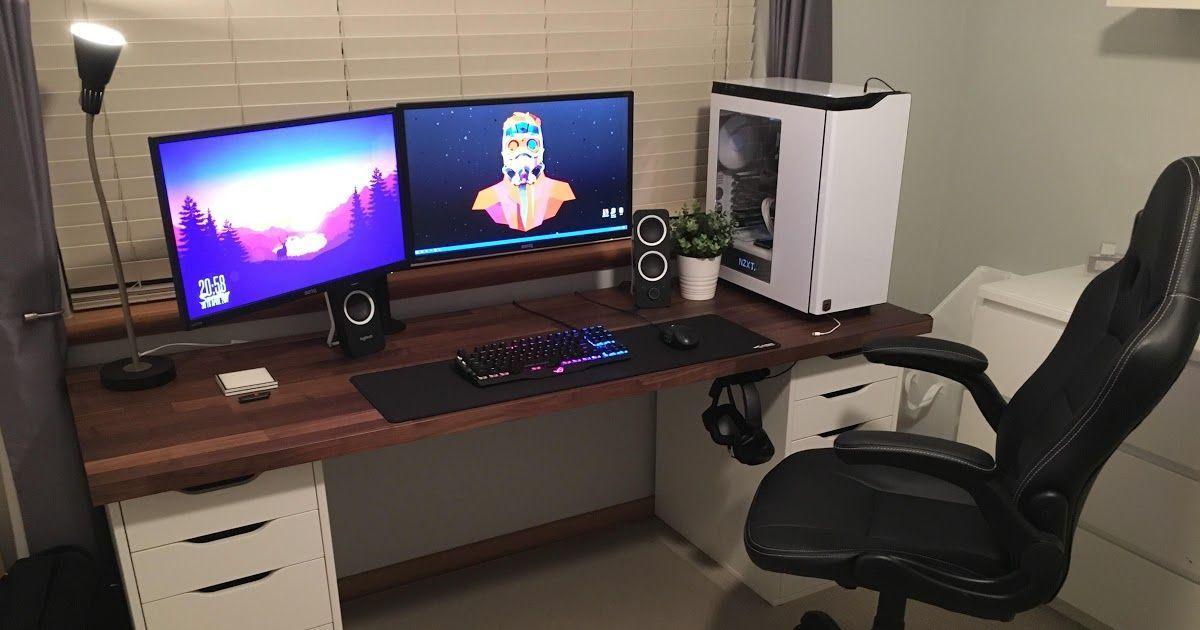 Generic Ikea Setup V2 Diy Computer Desk Gaming Desk My New Gaming Setup Desk Ikea Linnmon New Ikea Desk Diy In 2020 Ikea Gaming Desk Gaming Desk Home Office Setup