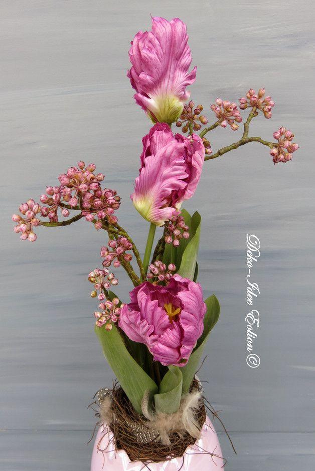 Gesteck Fruhling Glanz Ei Mit Tulpen Made By Deko Idee Eolion