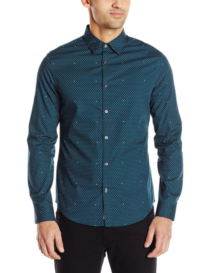 ab260a4543de Mens Fashion. Male Fashion. Original Penguin Men s Long Sleeve Polka Dot  Button Down Shirt, Reflecting Pond, Small Button