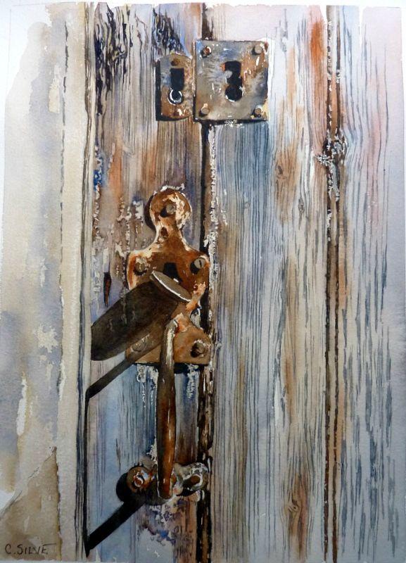 un vieux loquet poucier 30 cm 22 cm watercolor painting pinterest aquarelles portes. Black Bedroom Furniture Sets. Home Design Ideas
