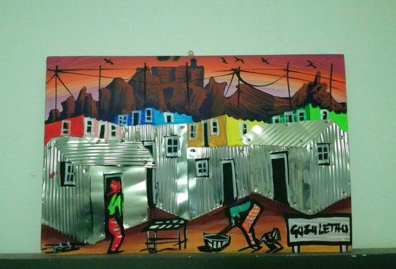 South African Townships Wall Art Wall Decoration Frames 3d Etsy Art Elephant Painting African Art