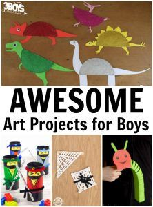 Awesome Art Projects for Boys is part of Cool Kids Crafts For Boys - When I first started making crafts with my kids, my boys were a little   reluctant  And it's understandable  Some craft projects are clearly designed with girls in mind  Plus, it can be tough to get them thinking creatively, especially if they're a little shy  So I was excited to find some awesome art projects for boys that my kids would love! There are crafts here for making dinosaurs, pirates, and even ninjas! Boys of all ages are sure to love them! And even better  they're all simple to make  You can even reuse some things you find around the house to