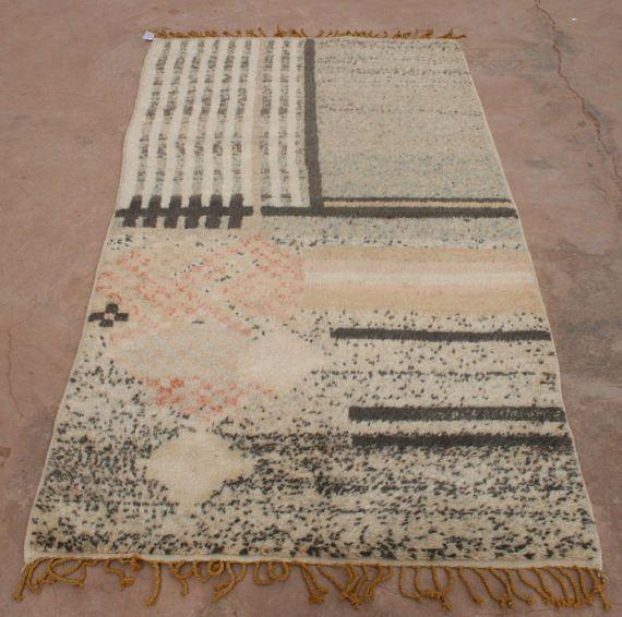 Designer Teppich 100x200 Wandteppich Moderner Teppich Grau Schwarz