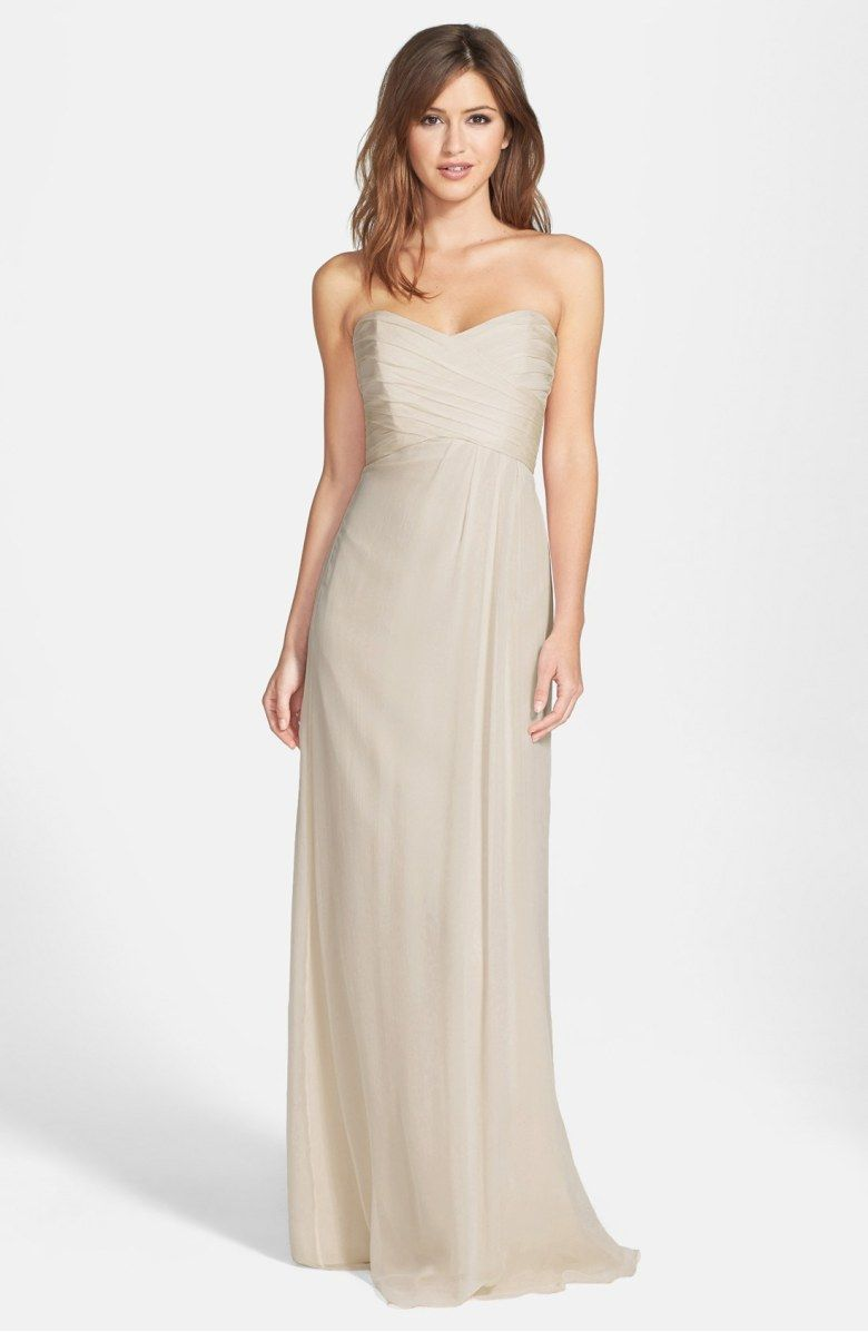 Strapless crinkle chiffon gown main color champagne wedding