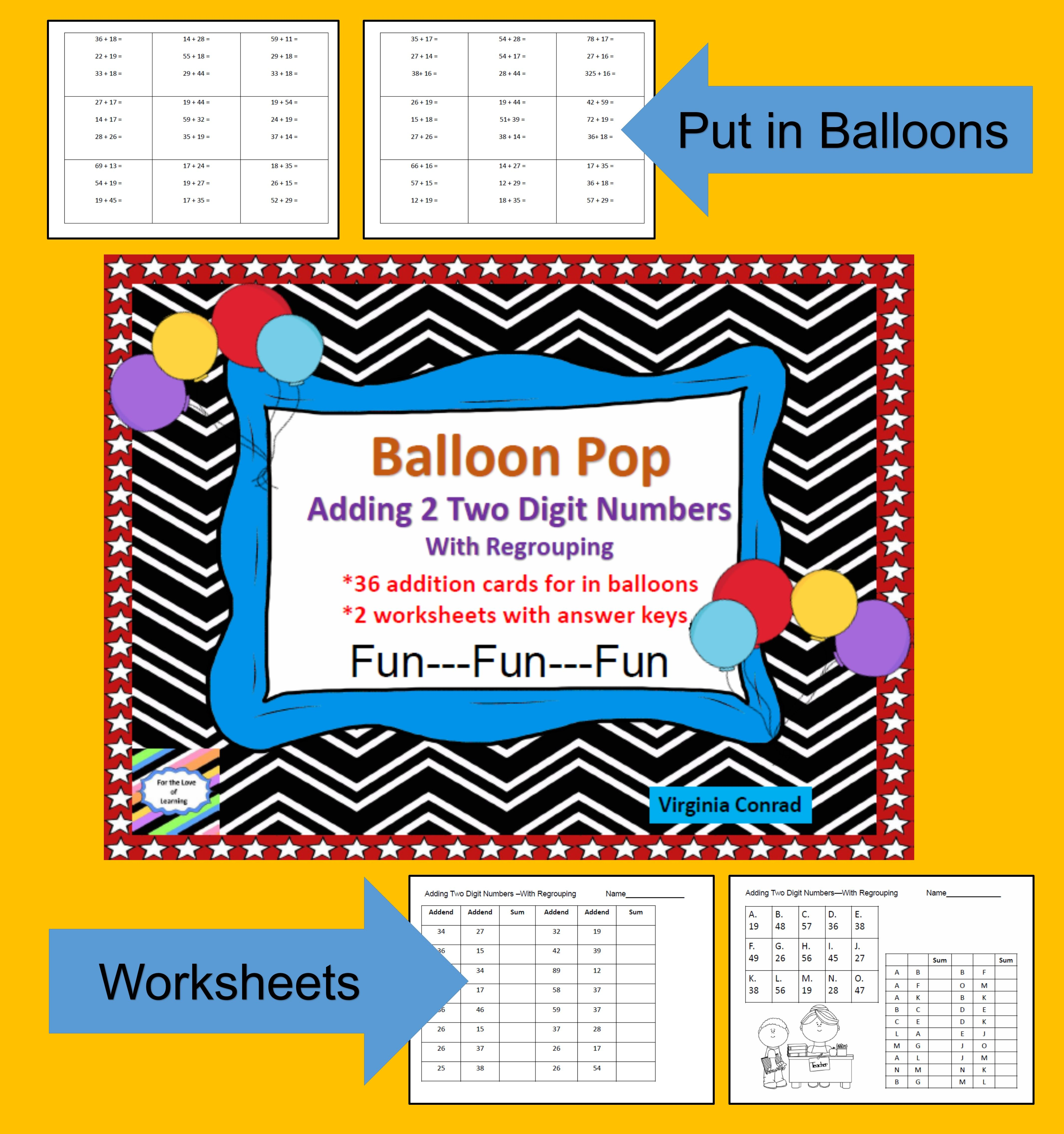 Adding 2 Two Digit Numbers With Regrouping Balloon Pop