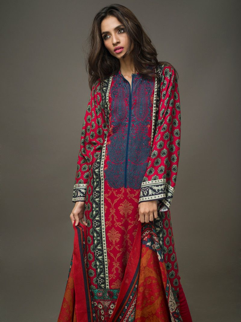 Gul ahmed winter dresses collection 2015 fashionip - Clothes Red Pashmina Woolen P 60 Winter Collection 2015 Gul Ahmed