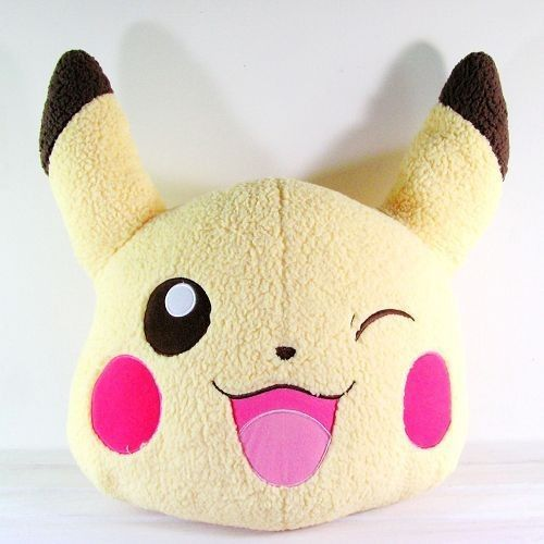 "Pokemon Pikachu Head-Shape Plush Cushion 17.7"" BIG DECO DOLL WINK GIFT"
