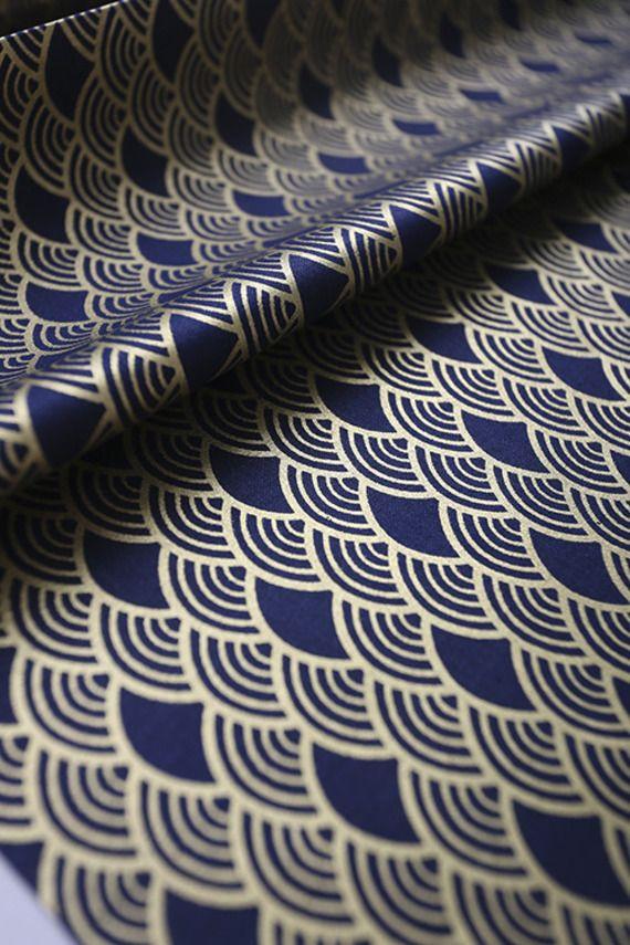 Magnifique tissu japonais bleu nuit motif vague seigaiha dor 143x50cm d co chambre tissus - Deco chambre dore ...