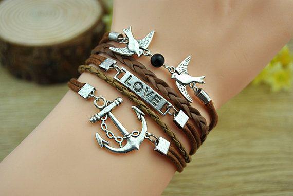 Fashion cuff braceletsilvery alloy anchor & love bird by Richardwu, $6.50