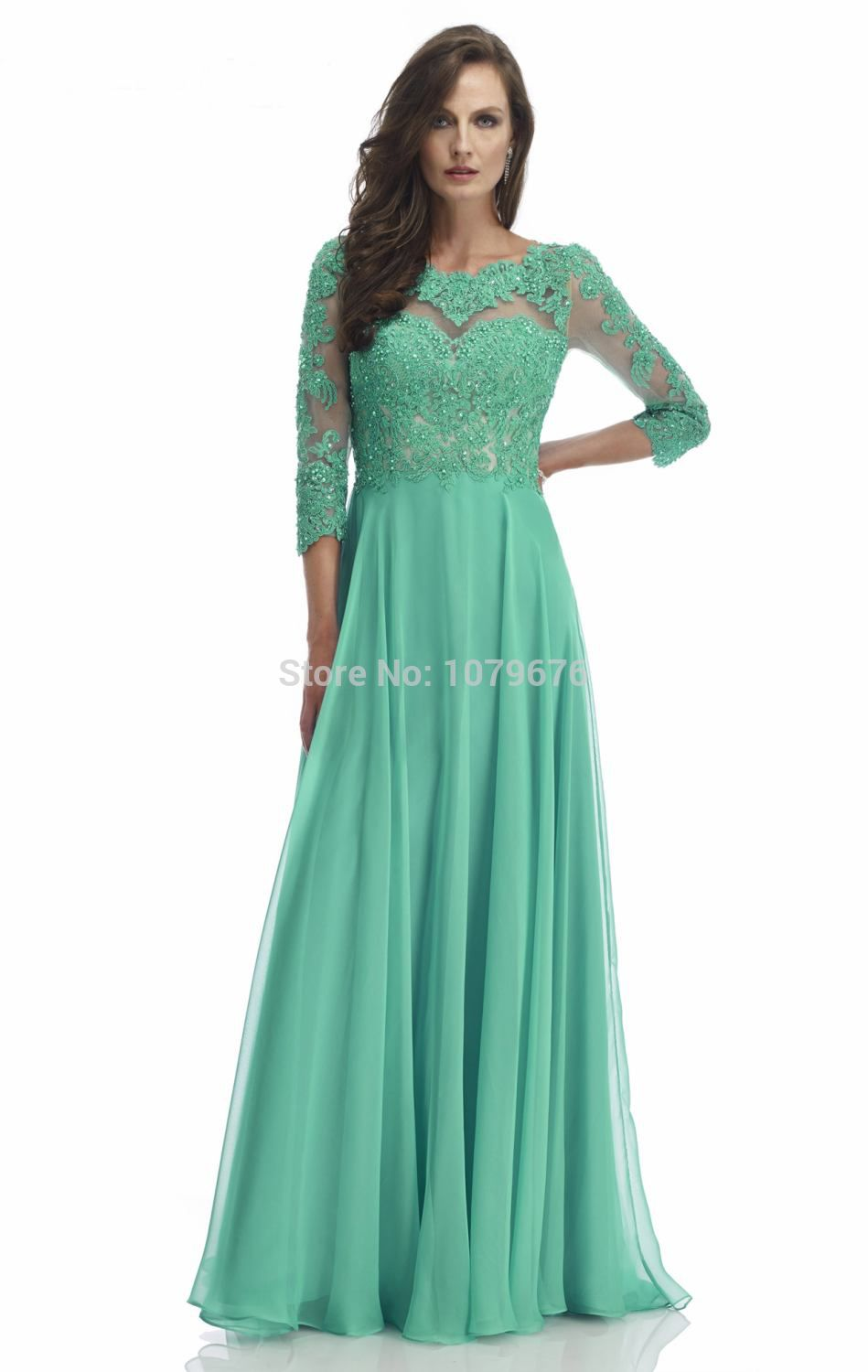Plus Size See Through Lace Beaded Long Sleeve Prom Evening Dress ...