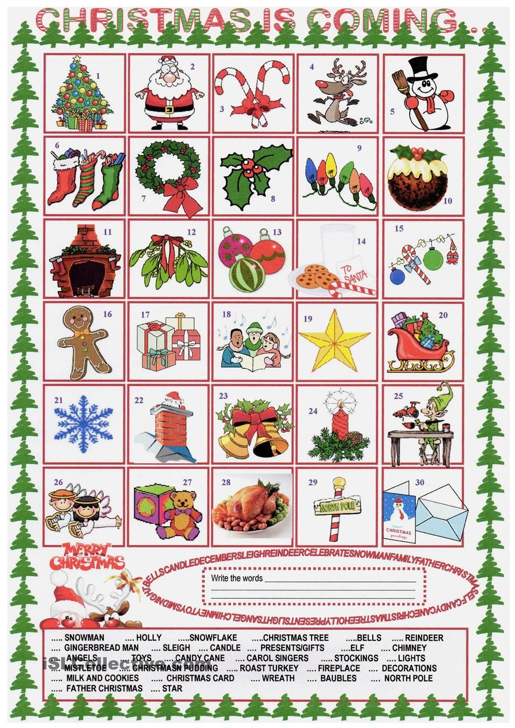 Xmas Vocabulary Con Imagenes Educacion