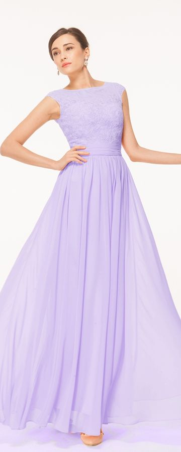 Lavender modest evening dresses formal dresses bridesmaid dresses cap  sleeves lace lilac bridesmaid styles Abendkleider 230dd7d48c90