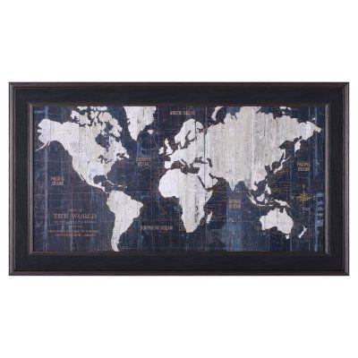 Art Effects Old World Map Blue Framed Wall Art P15731 Pinterest