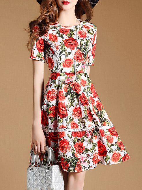 7c6eabf526 Shop Rose Print Mesh A-line Dress online. SheIn offers Rose Print Mesh  A-line Dress & more to fit your fashionable needs.