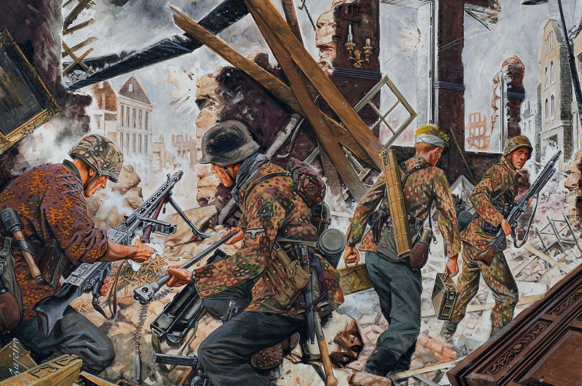 Painting Art Soldiers Machine Guns Army Battle War Military